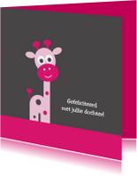 Felicitatiekaarten - Giraf roze
