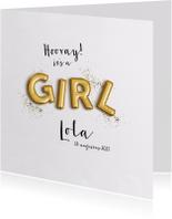 Geboortekaartjes - Gouden letter ballonnen en glitter