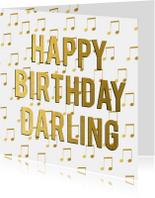 Verjaardagskaarten - Gouden muziekkaart verjaardag