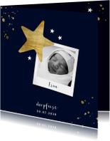 Gouden spetters en sterren doopkaartje