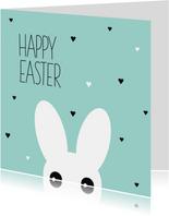 Paaskaarten - Grappig konijn happy easter