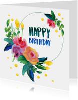 Verjaardagskaarten - Habby B-Day met bloemen