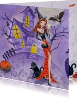 Halloween kaart Heks Vleermuis