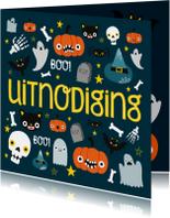 Halloween uitnodiging met illustratie