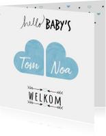 Geboortekaartjes - Handgeschreven tekst met 2 hartjes die samen een wolkje vorm
