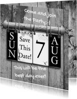 Trouwkaarten - Hangkalender vervang datum e