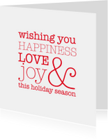 Kerstkaarten - Happiness love joy in rood