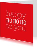 Kerstkaarten - Happy hohoho in rood