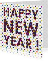Nieuwjaarskaarten - Happy new year met gekleurde stippen
