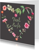 Hartje van bloemen zomaar kaart