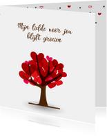 Moederdag kaarten - Hartjesboom met tekst voor moederdag