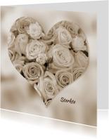 Hartvorm met rozen in sepia kleur