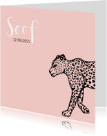 Hip geboortekaartje met een luipaard