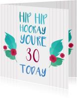 Verjaardagskaarten - Hip hip hooray 2 met aanpasbare leeftijd
