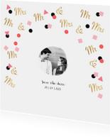 Hippe feestelijke save the date trouwkaart met goud confetti