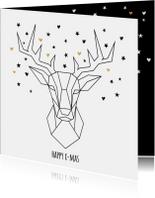 Hippe kerstkaart met geometrisch hert