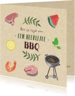 Uitnodigingen - Hippe uitnodigingskaart voor een BBQ met illustraties