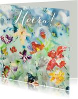 Verjaardagskaarten - Hoera print kunst bloemenveld