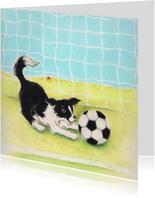 Kinderkaarten - Hondje Sendie met de voetbal