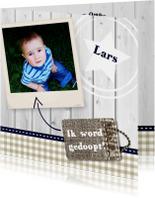 Hout met Label doop blauw - BK