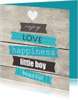 Felicitatiekaarten - Houtprint met tekst, jongen