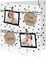 Jubileumkaarten - Huwelijk driehoekjes confetti
