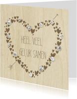 Felicitatiekaarten - huwelijk parel hart op hout
