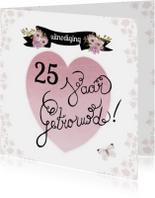 Jubileumkaarten - huwelijksjubileum hart tekst