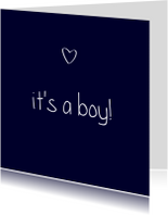 Felicitatiekaarten - It's a boy, handschrift