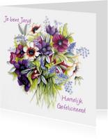 Verjaardagskaarten - Je bent jarig met anemonenboeket