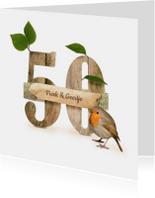 Jubileum feest 50 roodborstje en hout