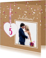 Jubileum kaart 5 jaar hart