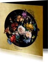 Jubileum uitnodiging  bloemen oude meesters