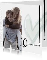 Jubileumkaarten - Jubileumkaart 10 jaar samen, modern met hart