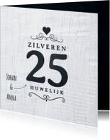 Jubileumkaart 25 jaar wit hout