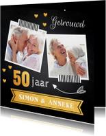 Jubileumkaart foto hartjes goud 50 jaar
