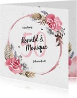 Jubileumkaart huwelijk met watercolor bloemen