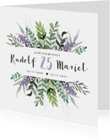 Jubileumkaart huwelijk stijlvol en klassiek met bloemen