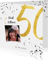 Jubileumkaart met gouden 50, spetters en foto
