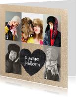 Jubileumkaart schoolbord hart