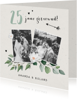 Jubileumkaart stijlvol botanisch met eigen foto's