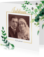 Jubileumkaart vierkant Stijlvol wit met goud
