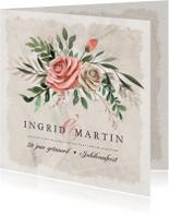 Jubileumkaart vintage en stijlvol met bloemen