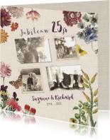 Jubileumkaart voor huwelijk met vintage bloemen