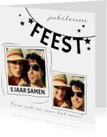 Jubileumkaart zwart-wit feest