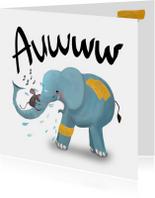 Kaart met huilende olifant met pleister op z'n billen!