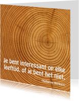 Kaart met spreuk hout