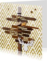 Kerstkaarten - Kerskaart Wegwijzer hout Strepen goud 2019