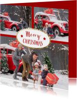 Kerstkaarten - Kerst collage - Merry Christmas gouden zonstralen