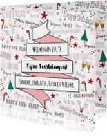 Kerst feestelijke illustratieve kaart handlettering